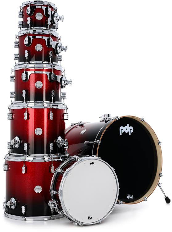 PDP Concept Maple Shell Pack - 7-Piece - Red To Black Sparkle Fade image 1