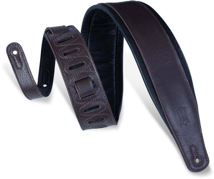 Levy\'s Deluxe Leather Guitar Strap - Dark Brown image 1