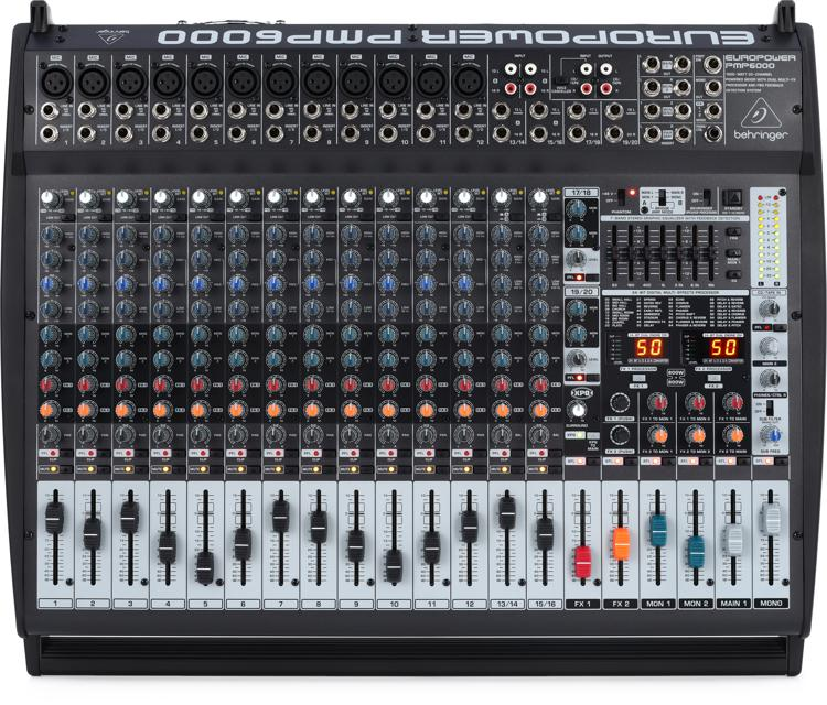 Behringer Europower Pmp6000 20 Channel 1600w Powered Mixer