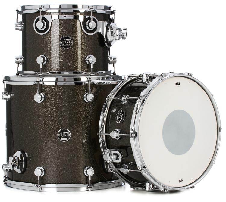 DW Performance Series 3 Piece Tom/Snare Pack - Pewter Sparkle Finish Ply image 1