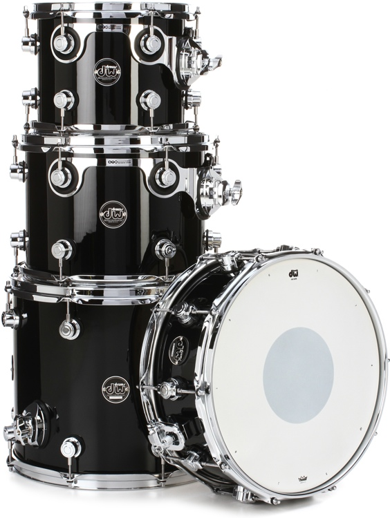 DW Performance Series 4 Piece Tom/Snare Pack - Gloss Black Finish Ply image 1