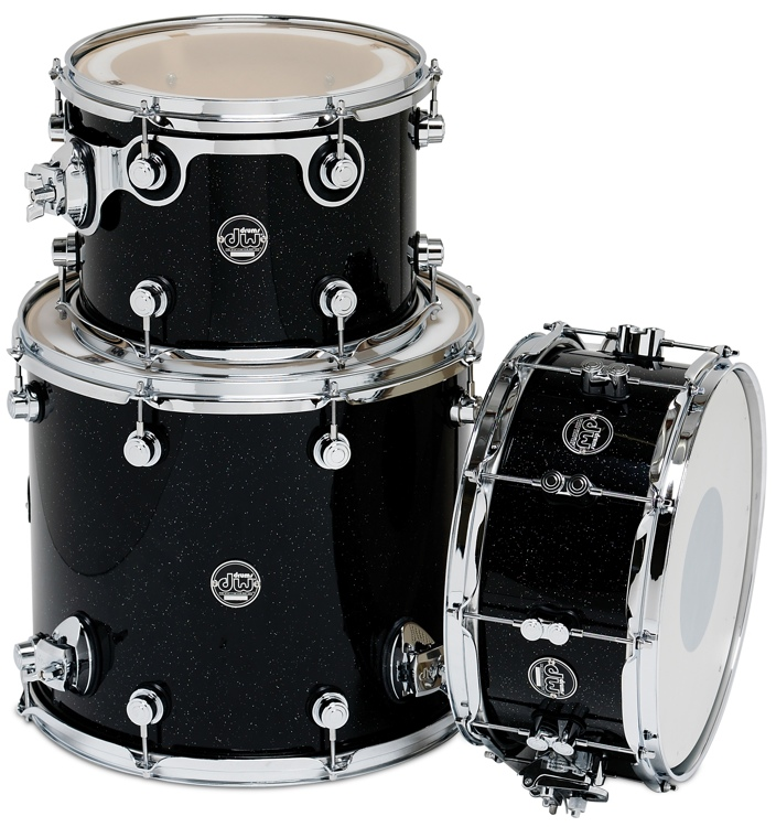 DW Performance Series 3-piece Tom/Snare Pack - Black Mirra 3-piece image 1