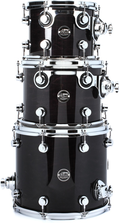 DW Performance Series 3-piece Tom Pack - Ebony Stain Lacquer image 1
