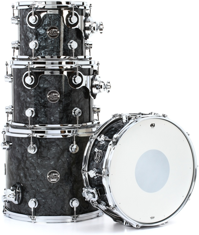 DW Performance Series 4-Piece Tom/Snare Pack - Black Diamond Finish Ply image 1