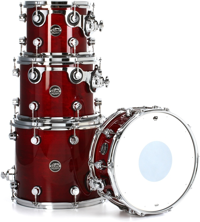 DW Performance Series 4-piece Tom/Snare Pack - Cherry Stain Lacquer image 1