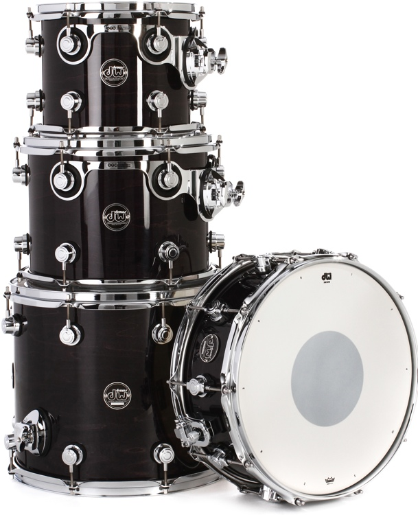 DW Performance Series 4-piece Tom/Snare Pack - Ebony Stain Lacquer image 1