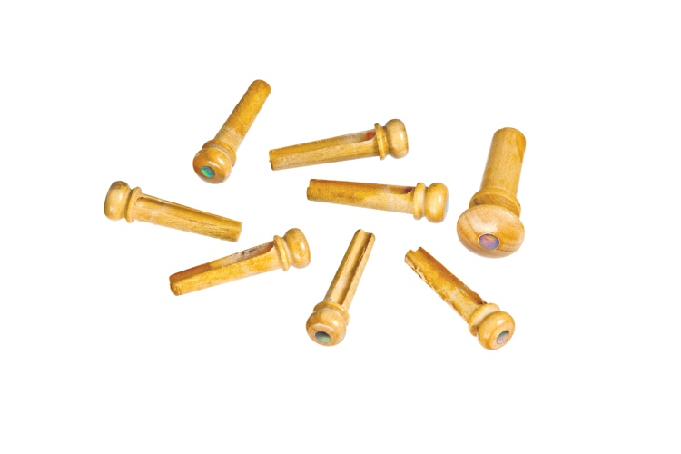 Planet Waves Bridge Pin and End Pin Kit - Boxwood with Pearl Inlay image 1