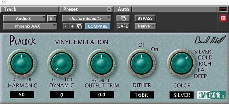 Crane Song Peacock Vinyl Emulation Plug-in image 1