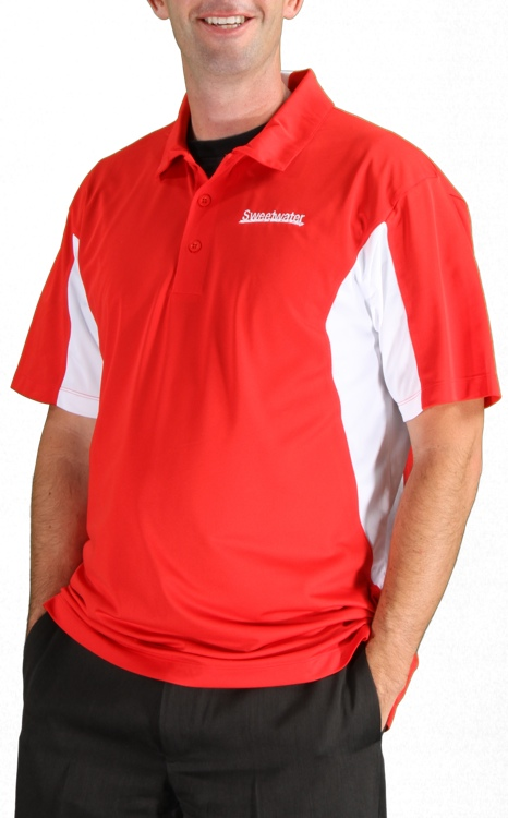 Sweetwater Side Blocked Sport Polo - Red, X-Large image 1