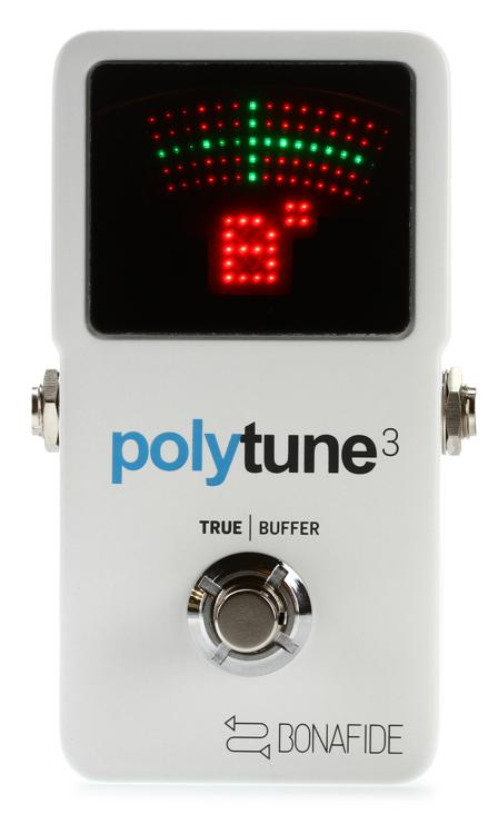 tc electronic polytune 3 polyphonic led guitar tuner pedal with buffer sweetwater
