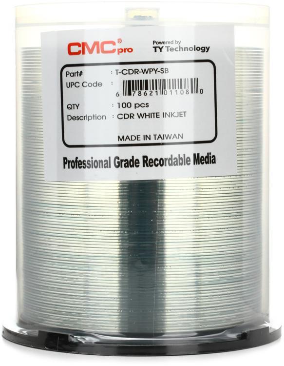 CMC Pro CD-R White Inkjet Printable, 100pk Spindle image 1