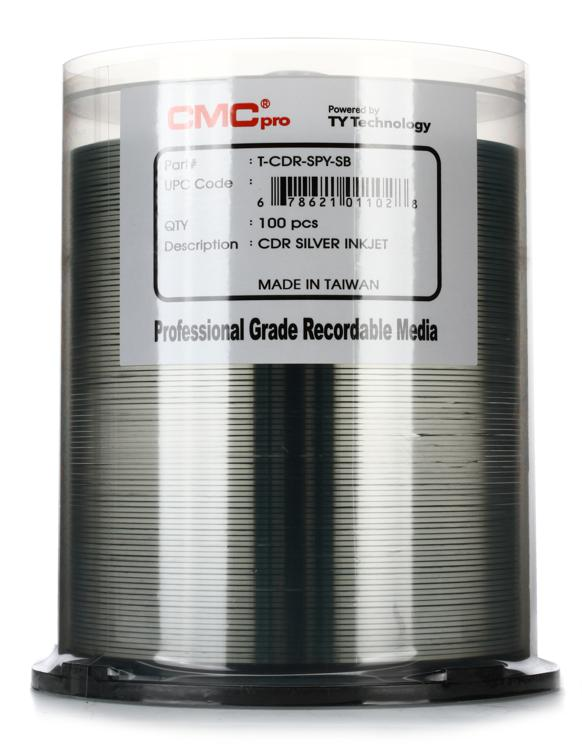 CMC Pro CD-R Silver Inkjet Printable, 100pk Spindle image 1