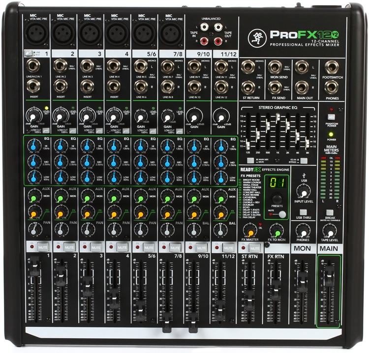 mackie profx12v2 mixer with usb and effects sweetwater. Black Bedroom Furniture Sets. Home Design Ideas