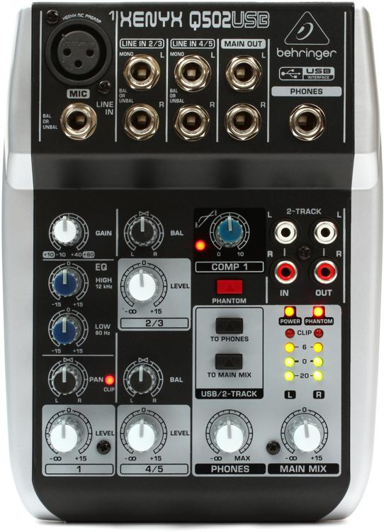 behringer xenyx q502usb mixer with usb sweetwater
