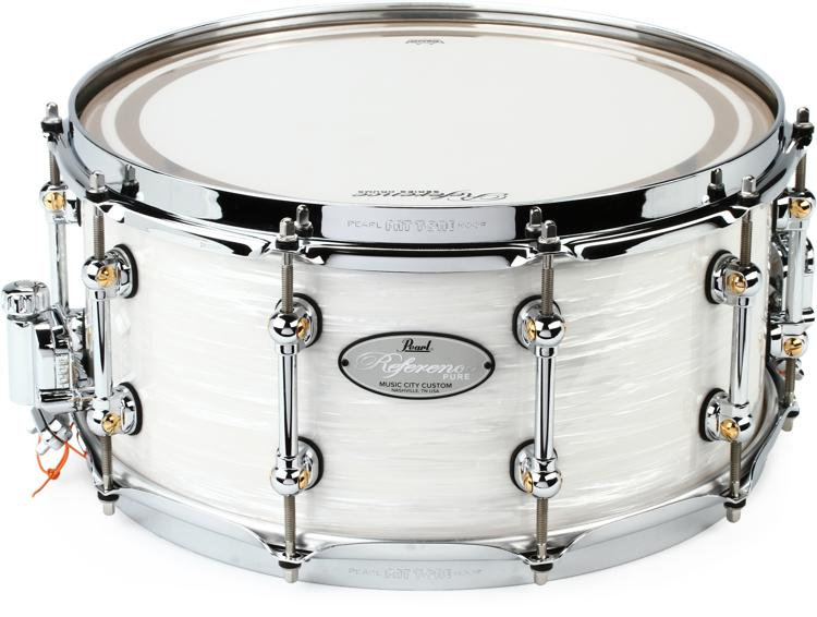 pearl music city custom reference pure snare drum 14 x 6 5 pearl white oyster sweetwater. Black Bedroom Furniture Sets. Home Design Ideas