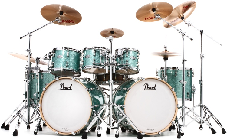 Pearl Music City Custom Reference Pure Double Bass Shell Pack 8-piece - Turquoise Glass image 1