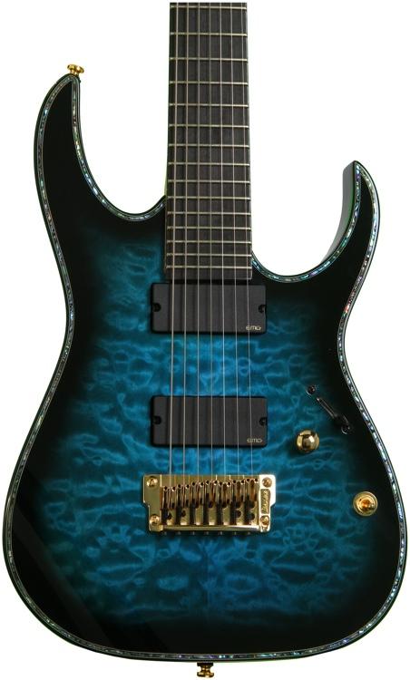 Ibanez Iron Label RG7 Exotic Wood Edition - Sapphire Blue Sunburst image 1