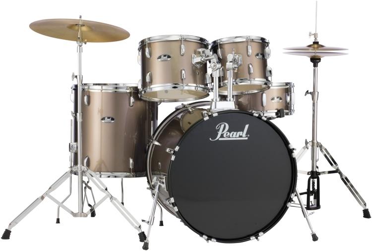 Pearl Roadshow 5pc Drum Set with Wuhan Cymbals - Bronze Metallic image 1