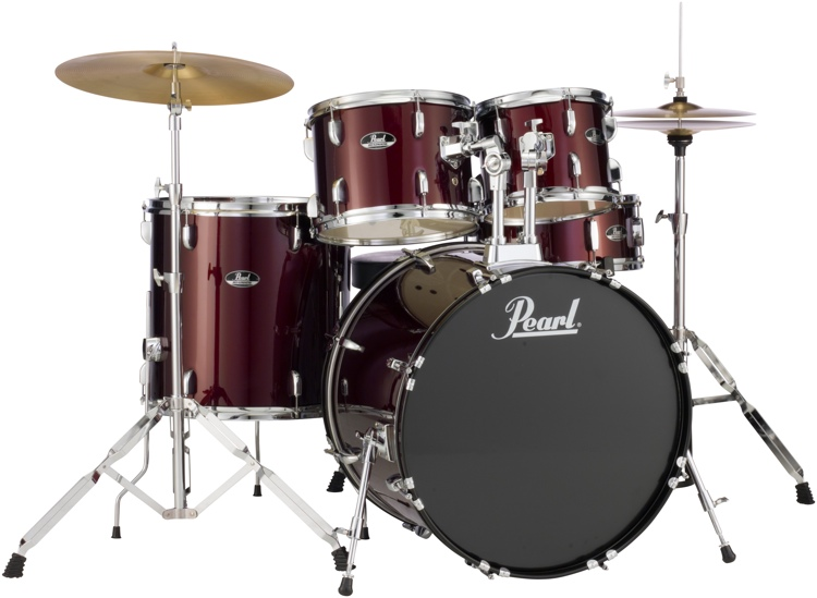 Pearl Roadshow 5pc Drum Set with Wuhan Cymbals - Wine Red image 1