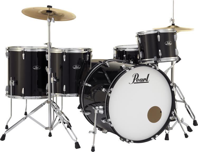 Pearl Roadshow 5-piece Complete Drum Set with Cymbals - Rock, Jet Black image 1