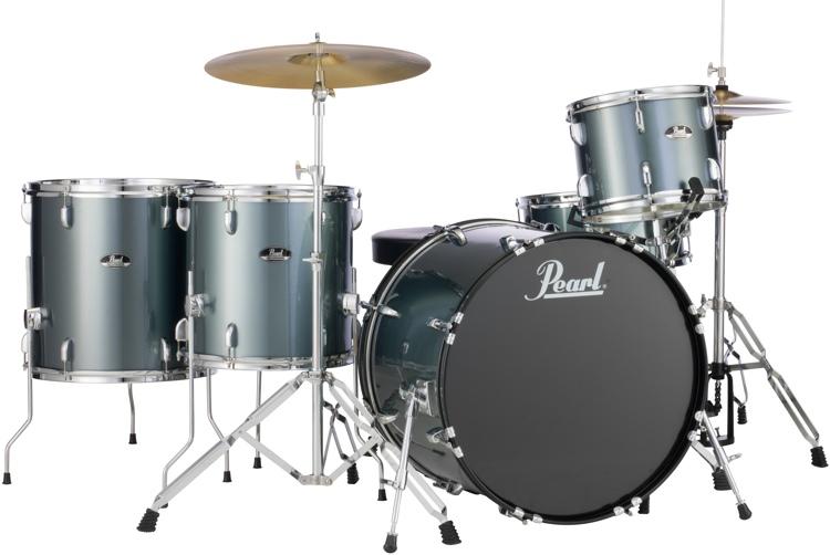 Pearl Roadshow 5pc Rock Drum Set with Wuhan Cymbals - Charcoal Metallic image 1