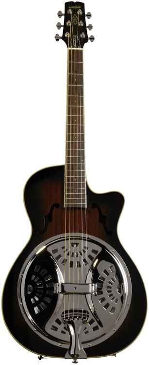 Wechter Guitars Scheerhorn Model Roundneck Resonator - F Hole, Tobacco Sunburst image 1