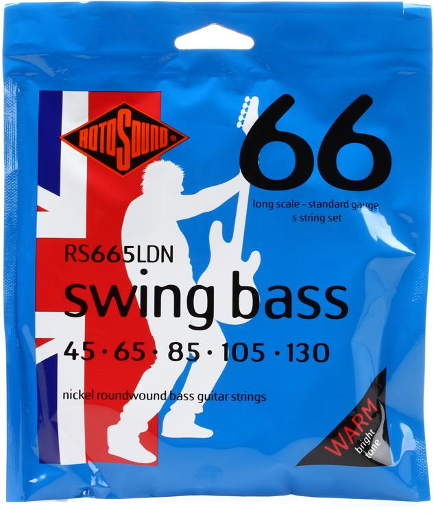 Rotosound RS665LDN Swing Bass 66 Nickel Roundwound Long Scale 5-String Bass Strings image 1