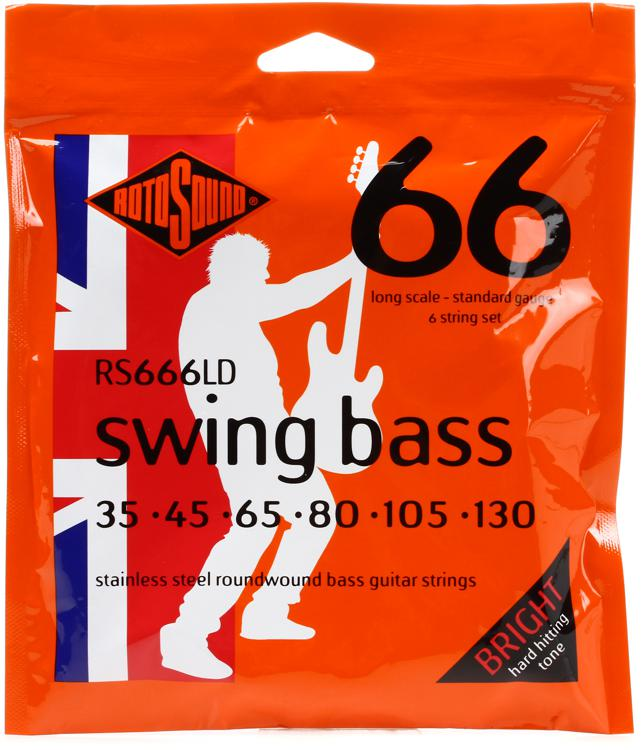 Rotosound RS666LD Swing Bass 66 Stainless Steel Roundwound Long Scale 6-String Bass Strings image 1