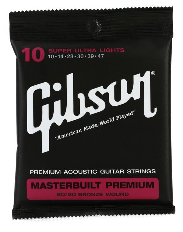 Gibson Accessories SAG-BRS10 Masterbuilt Premium 80/20 Bronze Super Ultra Light Acoustic Guitar Strings image 1