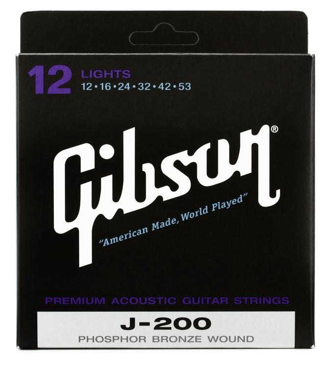 Gibson Accessories J-200L Phosphor Bronze Light Acoustic Guitar Strings image 1