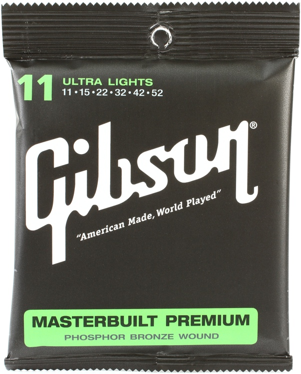 Gibson Accessories SAG-MB11 Masterbuilt Premium Phosphor Bronze Ultra Light Acoustic Guitar Strings image 1