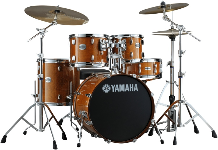 yamaha stage custom birch drum set honey amber sweetwater