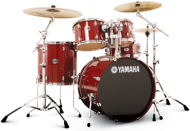 Yamaha stage custom birch shell pack 5pc cranberry red for Yamaha portable drums