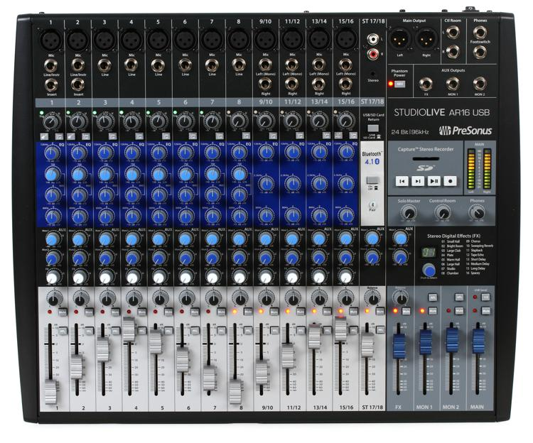 presonus studiolive ar16 usb mixer and audio interface with effects sweetwater. Black Bedroom Furniture Sets. Home Design Ideas