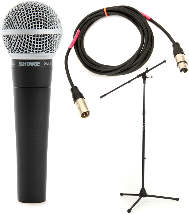 Microphone Cords Packages : Shure sm handheld microphone with stand and cable