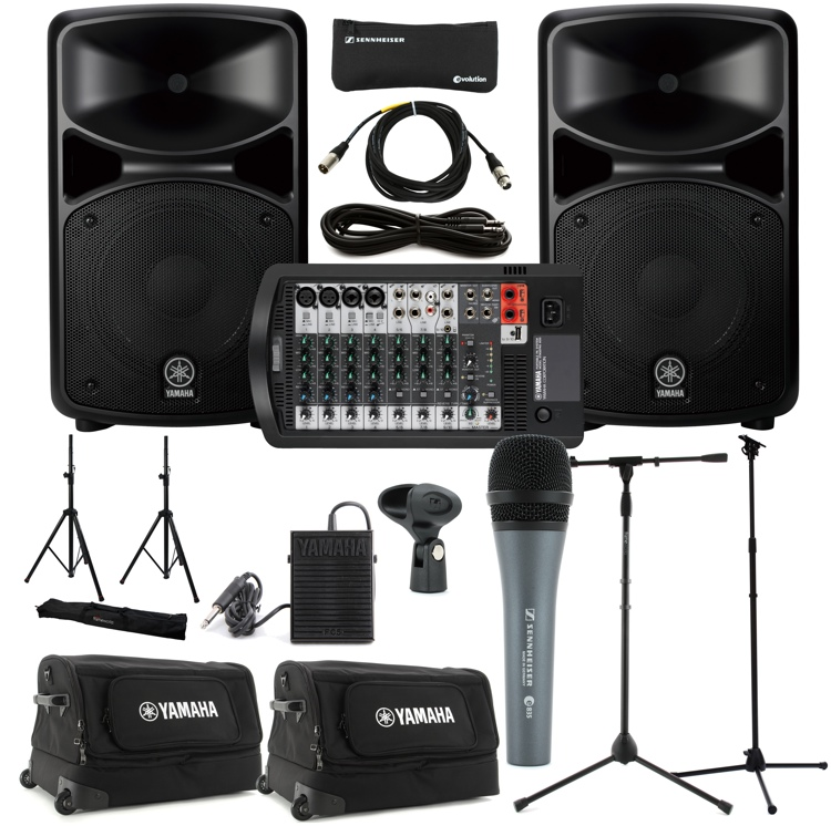 Yamaha stagepas 600i portable pa system with cases stands for Yamaha pa system