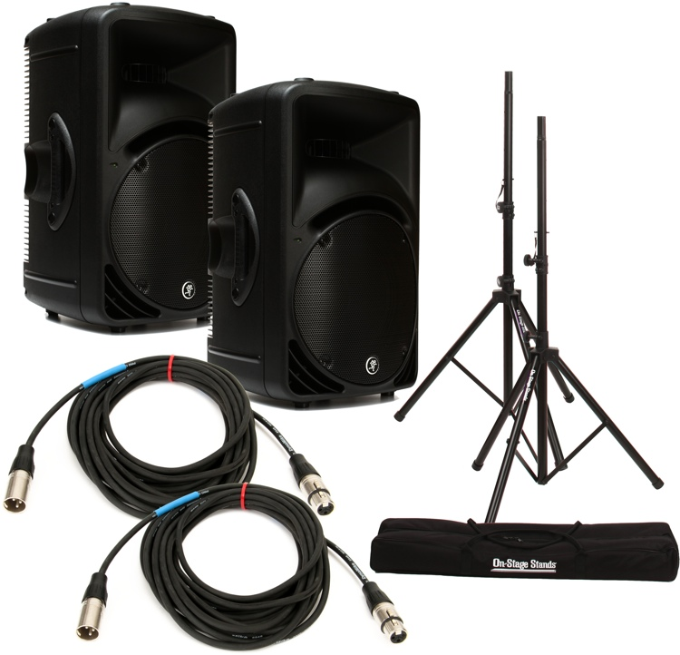 Srm Furnitures: Mackie SRM450 Speaker Pair With Stands And Cables