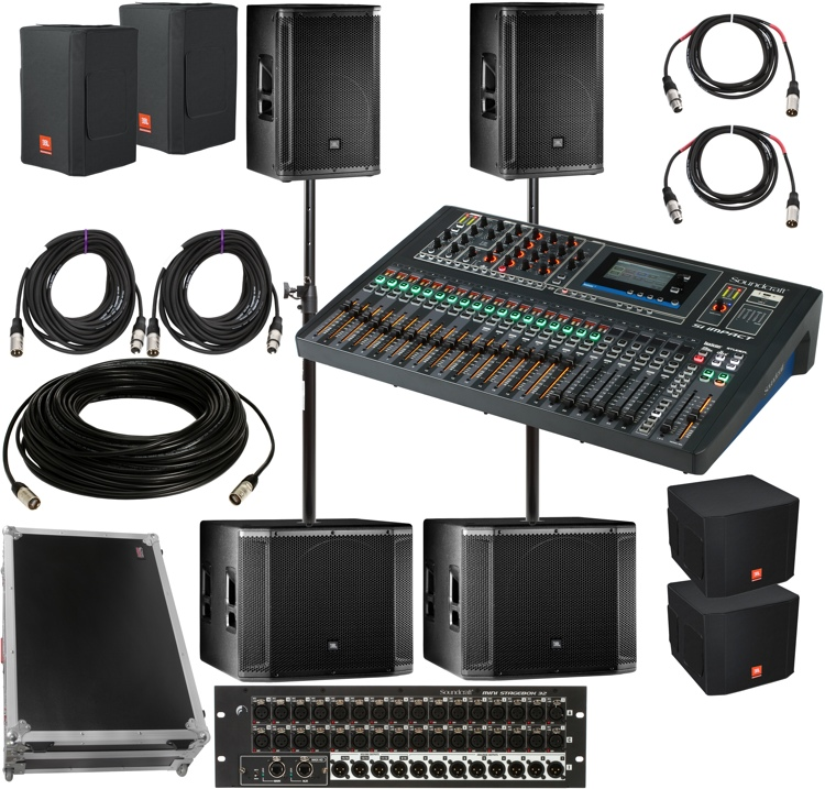 jbl srx800 complete pa package with soundcraft mixer and stage box sweetwater. Black Bedroom Furniture Sets. Home Design Ideas