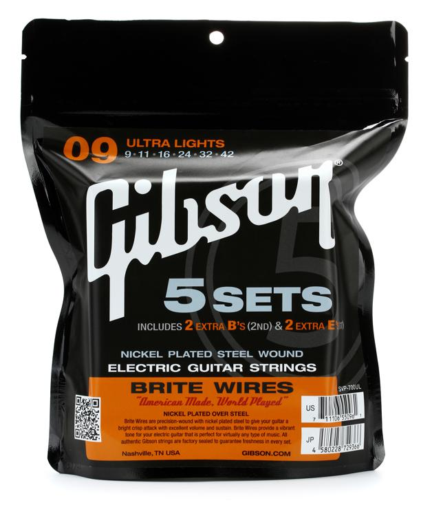 Gibson Accessories 700UL Brite Wires Electric Strings - .009-.042 - Ultra Light - 5-pk image 1