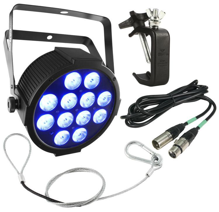 Chauvet DJ SlimPAR Q12 USB RGBA Par Package w/ Clamp, DMX Cable, Safety Cable image 1