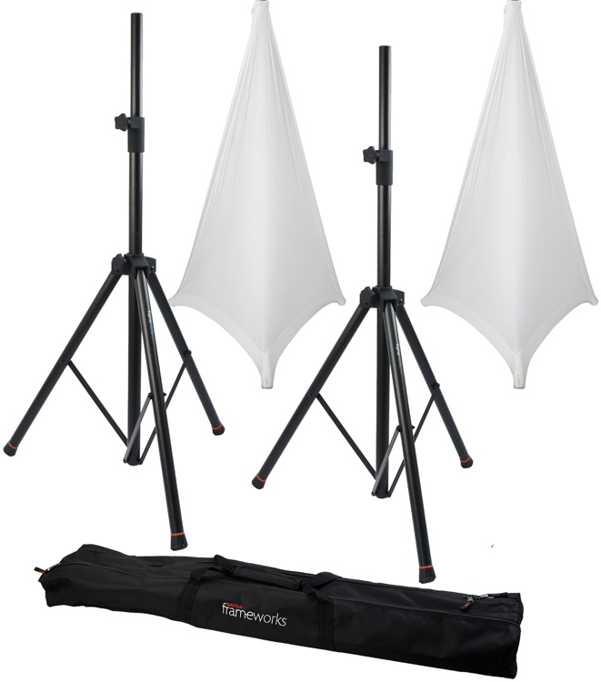 Gator Frameworks 3000 Speaker Stand, Bag and Cover Package - White image 1