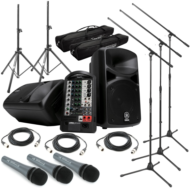Sweetwater StagePas 400i Portable PA System with Stands and 3 Microphones image 1