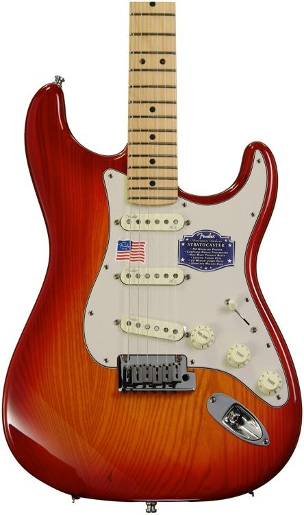 Fender American Deluxe Ash Strat - Aged Cherry Sunburst, Maple image 1