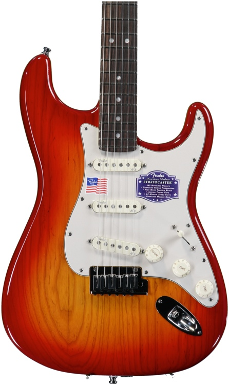 Fender American Deluxe Ash Strat - Aged Cherry Burst, Rosewood image 1