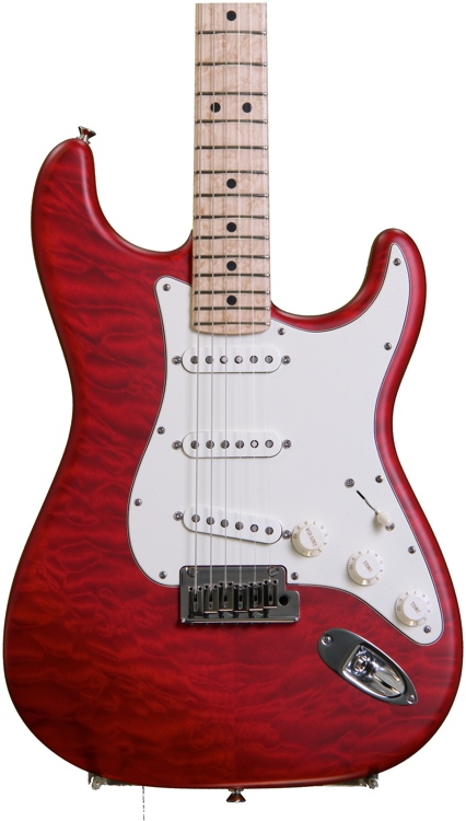 Fender Custom Shop Custom Deluxe Strat 2014 - Candy Apple Red Transparent, Maple image 1