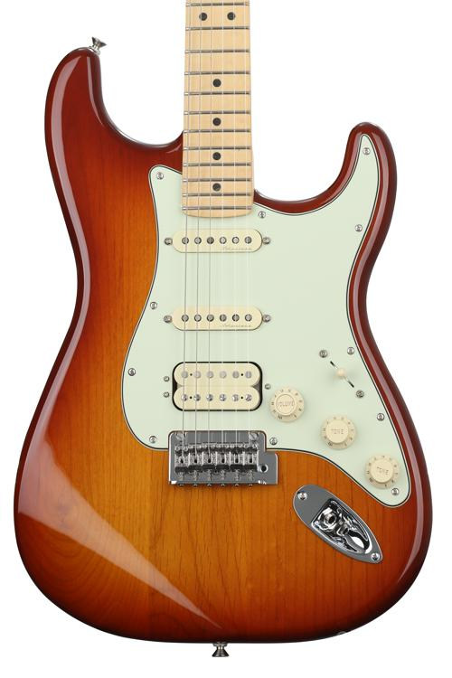 fender deluxe stratocaster hss tobacco sunburst with maple fingerboard sweetwater. Black Bedroom Furniture Sets. Home Design Ideas