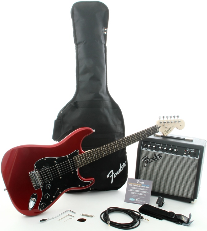 Squier Affinity Strat Pack HSS with Frontman 15G Amplifier - Candy Apple Red image 1
