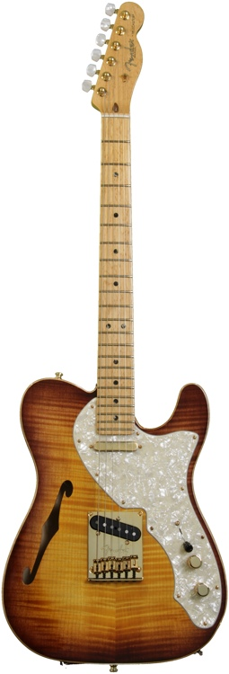 Fender American Select Series Telecaster - Thinline, Violin Burst, Gold HW image 1