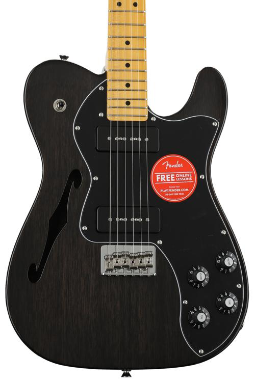 Fender Modern Player Telecaster Thinline Deluxe - Black Transparent image 1