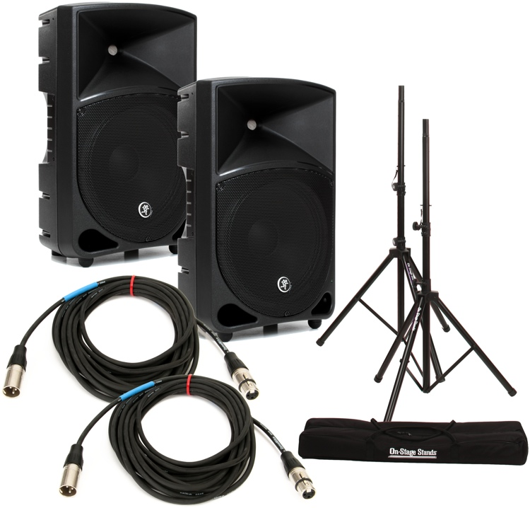 Mackie Thump 12 Speaker Pair with Stands and Cables image 1